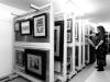 Art rack storage shelving slides on tracks