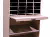 totes below on an angle and mail slots above in your mailroom furniture system