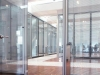 Glass hinged door option on mobile walls