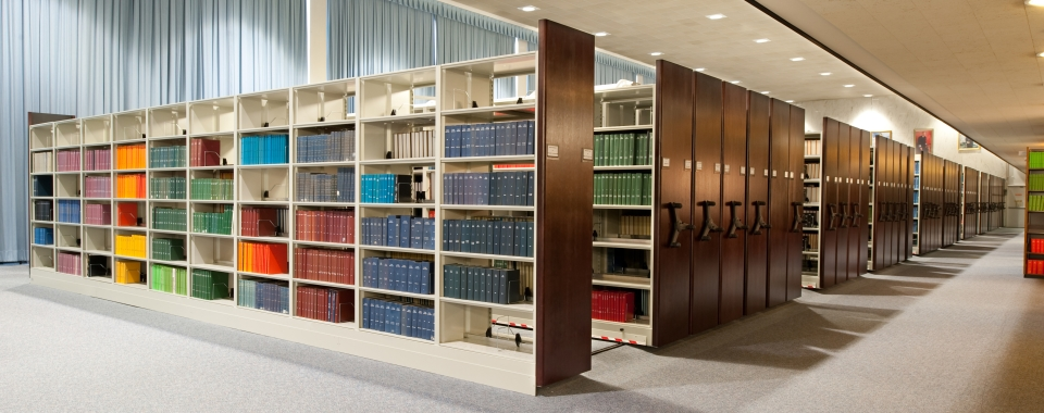 High Density Library Shelving with Dark Wood Shelving