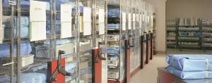 Hospital Rolling Shelving saves aisles space while holding more in less space