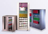 Rotary files hold files that are both top tab and end tab. Drawers can be added to the pivot cabinets.