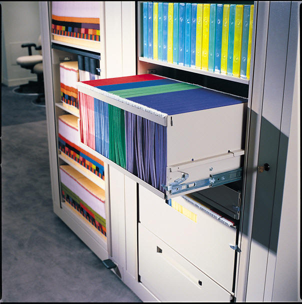 Rotary files can hold end tab files, small media in drawers, or top tab files in drawers all in one cabinet. A true multimedia cabinet changes with your needs